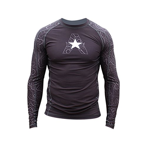 Anthem Athletics New! 10+ Styles HELO-X Long Sleeve Rash Guard Compression Shirt - BJJ, MMA, Muay Thai - Topography - Medium