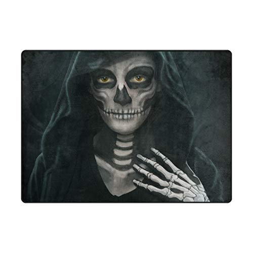 Top Carpenter Halloween Makeup Skeleton Area Rug Carpet 5x4 Light Weight Polyester for Living Bedroom
