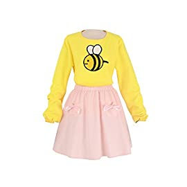 miccostumes Women's Bee Yellow Shirt Pink Skirt Cosplay Costume