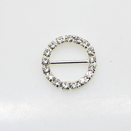(30pcs 20mm x 20mm Round Shaped Rhinestone Buckle Slider for Wedding Invitation Letter)