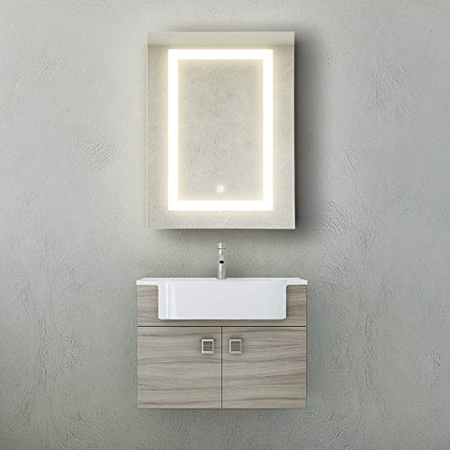 GetInLight LED Wall Mounted Lighted Bathroom Medicine Cabinet, Touch Sensor Dimming Switch, -