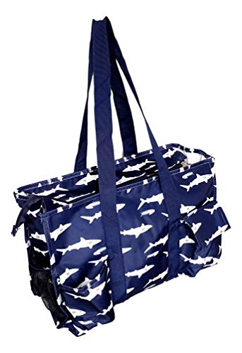 Fashion Print Zipper Top Organizing Game Day Tote Bag Diaper Teacher Weekender Tailgate Can Be Personalized (Navy Shark)