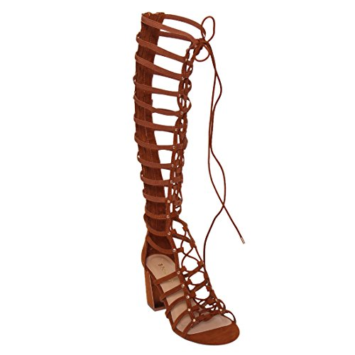 Podcast 05s Mujeres Elasticized Stappy Lace Up Gladiator Sandals Cognac Chestnut