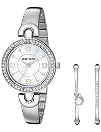 Anne Klein AK/3288 - Conjunto de reloj y pulsera con cristales de Swarovski para mujer, Plateado, No hay talla