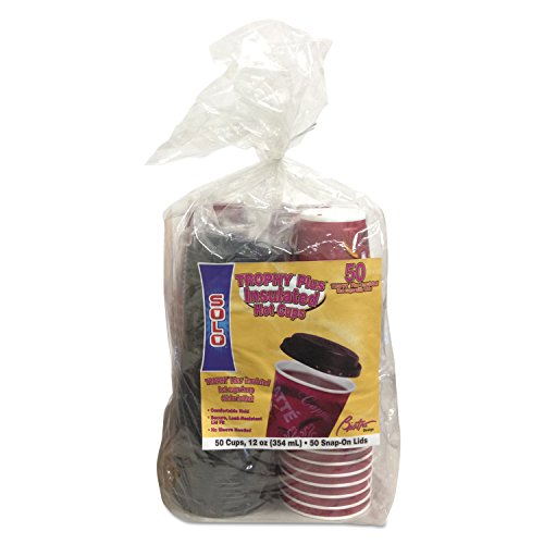 Solo Cup FSX12-0041 Trophy Foam Cups and Lids Combo Pack, 12 oz, Maroon (Pack of 50)