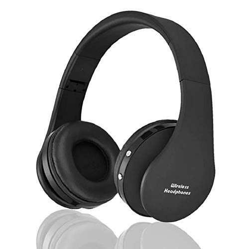 Bluetooth Over-Ear Headphones, Wireless Stereo Foldable Headphones Wireless and Wired Headsets with Built-in Mic for iPhone/Samsung/iPad/PC (Black)