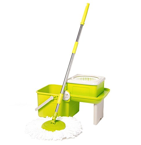 Deluxe Compact Folding Spin Mop - Microfiber Mop with Bucket for Hardwood Floor