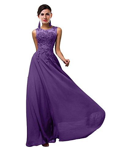 ThaliaDress Women Long Sheer Neck Evening Bridesmaid Dresses Prom Gowns T004LF Purple US16