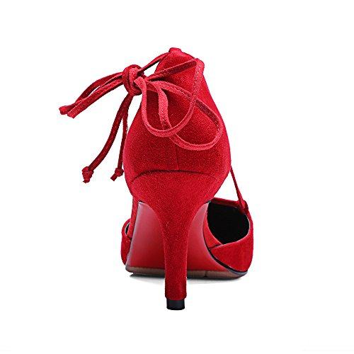 Nine Seven Cuero Moda Puntiagudos Tacones de Aguja con Correa de Tobillo de Vestir para Mujer Rojo