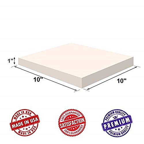 """Upholstery Visco Memory Foam Square Sheet- 3.5 lb High Density 1""""x10""""x10""""- Luxury Quality For Sofa, Chair Cushions, Pillows, Doctor Recommended for Backache & Bed Sores by Dream Solutions USA"""