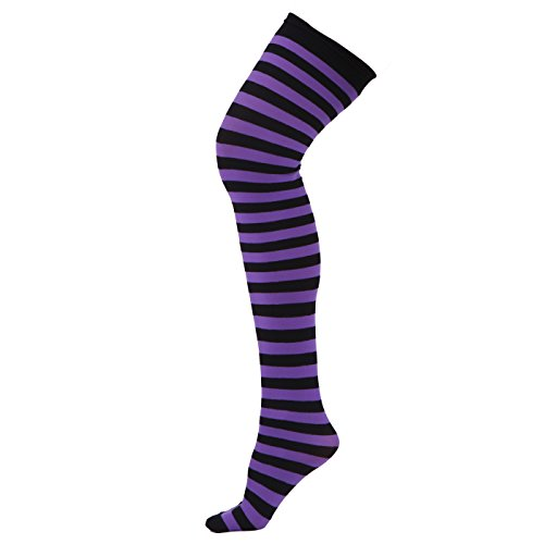 HDE Women's Plus Size Striped Stockings Thigh High Over the Knee OTK Sheer Nylons (Purple Black (Halloween Stocking)
