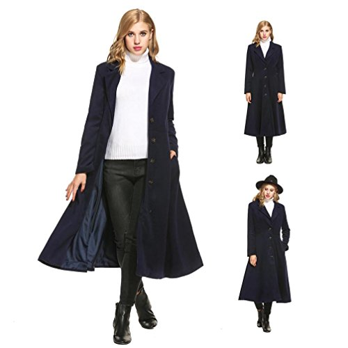 Women's Vintage Turn-down collar A-line Long Trench Coat Button Closure Dress British Style ( S, Blue ) A-line Cotton Trench Coat