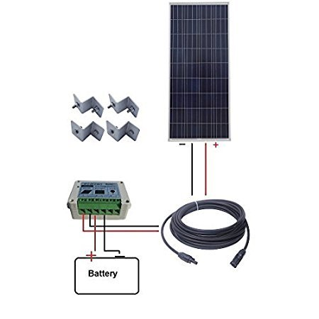 ECO-WORTHY 160W Solarmodul-Kit: 160W Solarpanel + 15A Solar-Controller + 50Ft MC4-Kabel + Z Bracket Kit