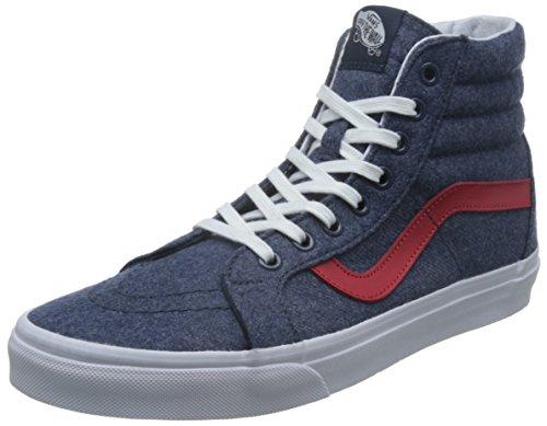Vans Unisex Sk8-Hi Reissue (Varsity) Navy/True White Skate Shoe 9.5 Men US / 11 Women US
