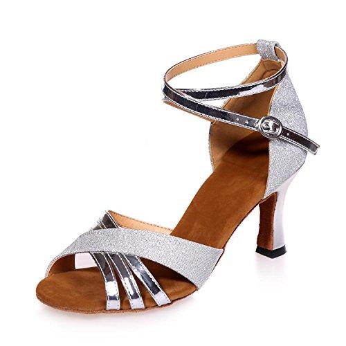 rojo Zapatos yc Baile personalizable Negro L De azul Latín Silver Marrón Con Silk Mujer dancing PfF5w