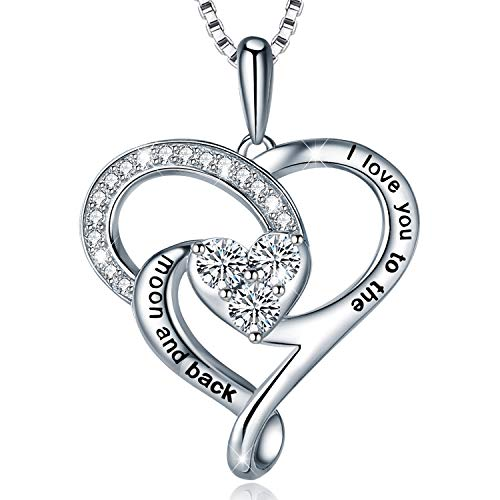 Cotton Pendant Silver Chain Boxes - MUATOGIML 925 Sterling Silver I Love You to The Moon and Back Heart Pendant Necklace, 18 Inch Box Chain