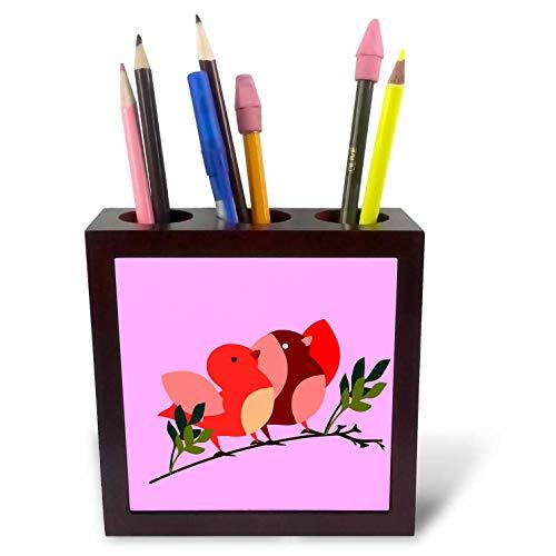 3dRose Amar Singha Art - Bird - Little Birds On The Branch of A Tree - 5 inch Tile Pen Holder (ph_289481_1)