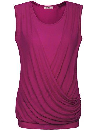 Womens Tunics,Timeson Womens Sleeveless Scoop Neck Stretchy Jersey Draped Surplice Tunic Blouse Tank Shirts Tops Medium Rose