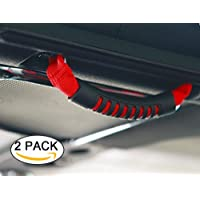 BOXATDOOR Roll Bar Grab Handles X 4 For Wrangler YJ TJ JK JKU 1987-2016 Triple Strap Roll Bar Grab Grip Handles Red