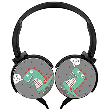 Cute Dinosaur Wired Headphones Stereo Subwoofer Headphones Lightweight Portable Headphones, Black