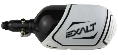 Exalt Carbon Fiber Tank Cover-Fits 68ci, 70ci, 72ci Paintball Tank-White w/Black by Exalt