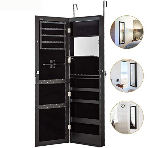 Herron LED Jewelry Cabinet Armoire with Mirror, Over The Door Jewelry Box or Wall Mounted Jewelry Organizer for Women to Store Jewelry,Black