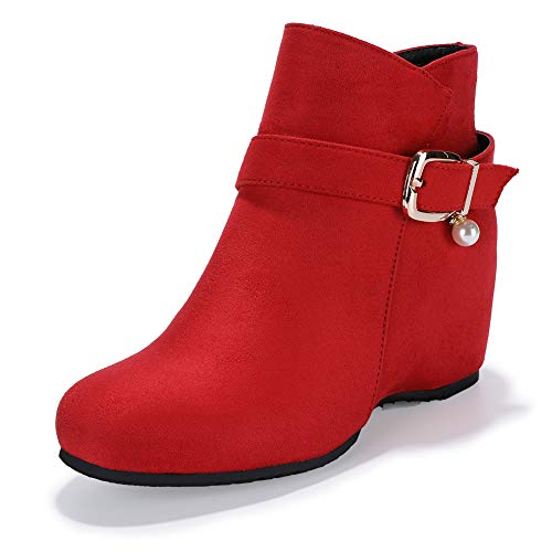 (IDIFU Women's Candice-Pearl Buckle Strap Round Toe Short Boots Hidden Medium Wedge Heel Side Zipper Ankle Booties (Red Suede, 8 M US))
