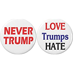 """Set 2 NEVER Trump Love Trumps Hate 2.25"""" Large Buttons Pins Anti Against"""