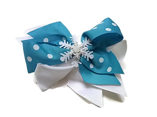 Price comparison product image Blue and White Polka-dot Glitter Snowflake Hair Bow