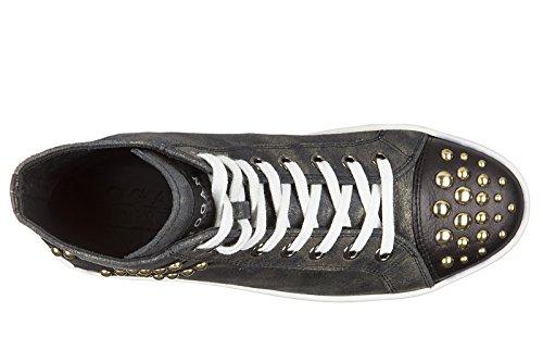 Sapatos Mezz Hogan R141 Couro Senhoras Sapatilhas Das Rebeldes Sapatos Borchie Mulheres De AAUfPWHqw6
