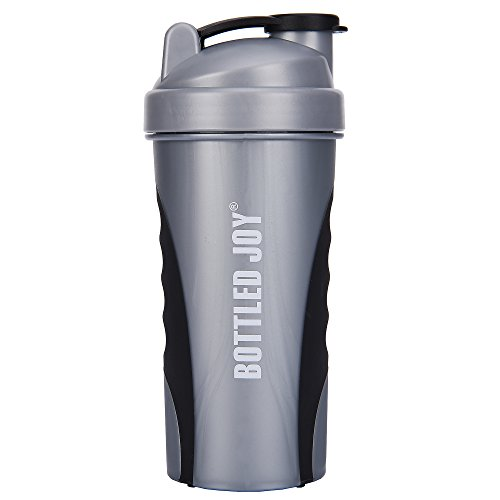 (BOTTLED JOY Protein Shaker Bottle, Non-Toxic Wide Mouth 100% Leak Proof Shake Water Bottles 27oz 800ml (Grey))