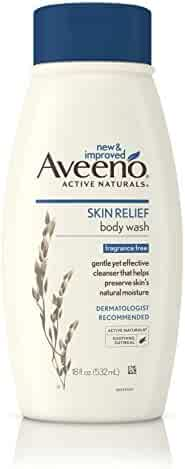 Aveeno Skin Relief Fragrance-Free Body Wash with Oat to Soothe Dry Itchy Skin, Gentle, Soap-Free & Dye-Free for Sensitive Skin, 18 fl. oz