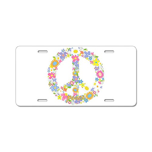Aluminum License Plate Floral Peace Symbol Sign