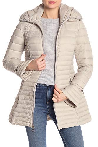 Quilted Laundry Coat (Laundry by Shelli Segal Hooded Quilted Lightweight Puffer Jacket Packable Grey Hue (M))