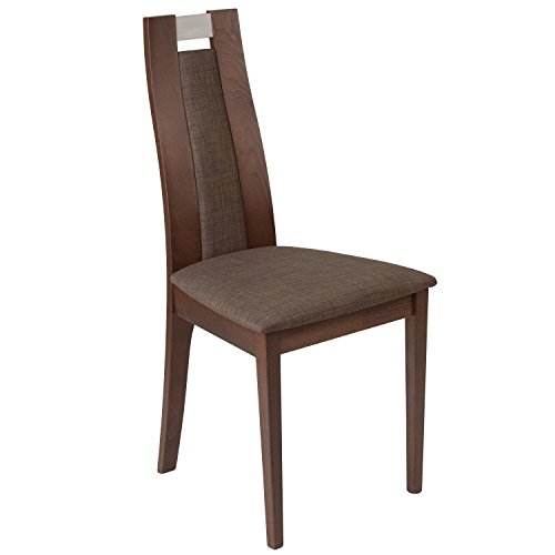 Flash Furniture Quincy Walnut Finish Wood Dining Chair with Curved Slat Wood and Golden Honey Brown Fabric (Honey Finish Wood)