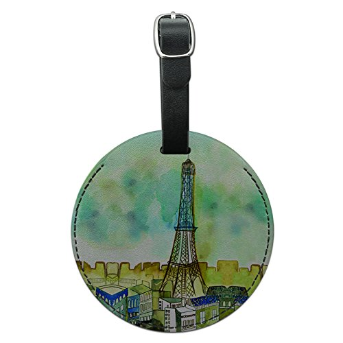 Graphics & More Watercolor Paris Eiffel Tower France Round Leather Luggage Id Tag Suitcase, - Tower Water Address