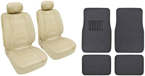 4 Pc Beige Classic PU Leather Bucket Seat Covers & Charcoal 4pc Carpet Mats BDK design