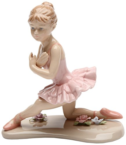 Cosmos Gifts 20863 Ballerina in Pink with Knee Down Ceramic Figurine, 4-1/2-Inch