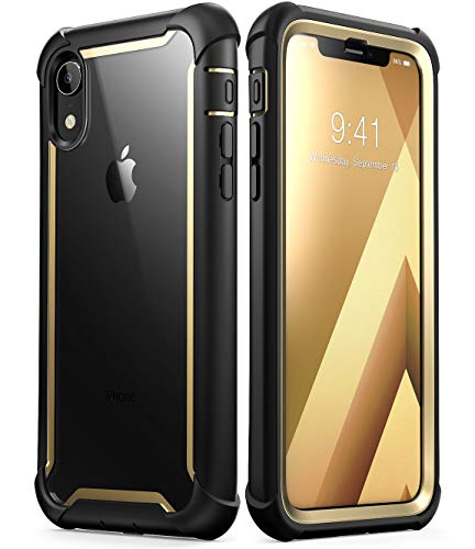 iPhone XR Case, i-Blason [Ares] Full-Body Rugged Clear Bumper Case with Built-in Screen Protector for Apple iPhone XR 6.1 Inch (2018 Release)(Gold)