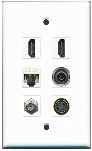 RiteAV - 2 HDMI 1 Port Coax Cable TV- F-Type 1 Port S-Video 1 Port 3.5mm 1 Port Cat5e Ethernet White Wall Plate (S-video 3.5 Mm F-type)