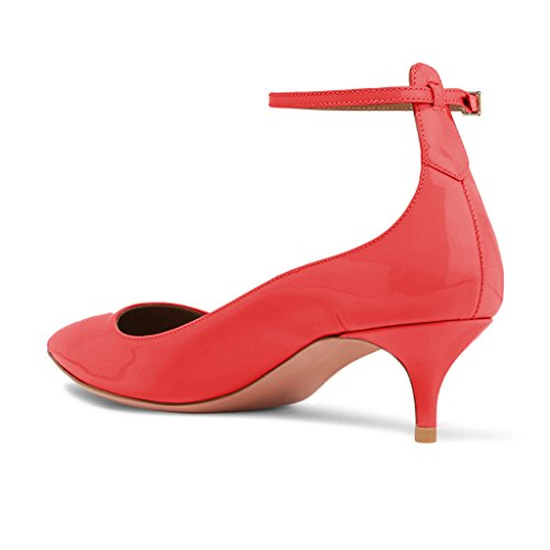 sale low cost lowest price sale online FSJ Women Versatile Pointed Toe Pumps Mid Kitten Heels Slim Ankle Strap Mary Jane Shoes Size 4-15 US Red visit cheap visit new cheap price from china P1BX3FDIbh