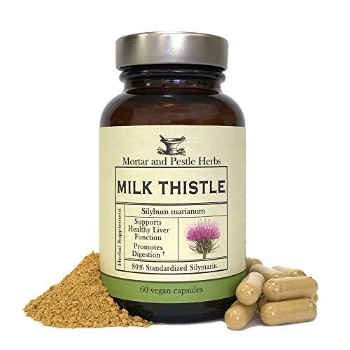 Mortar and Pestle Herbs - Milk Thistle Capsules - Extra Strength 80% Silymarin Herbal Supplement - Made with Organic Milk Thistle - Liver Support - Vegan and GMO Free - Made in The USA