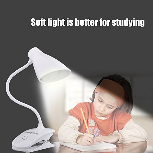 16 LED 1200mAh Desk Lamp 3W, HIATAPO Dimmable Clip On Bedside Lamp, Touch Control Table Lights with Clip-On Clamp, Rechargeable, 3-Level Dimmer, Eye-care, Gooseneck Tube for Reading, Studying, Working
