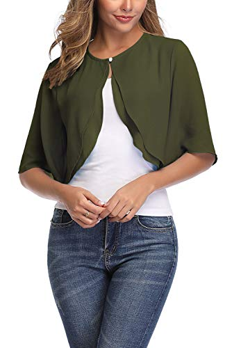 Aranmei Women's Short Sleeve Shrug Sheer Cropped Cardigan Chiffon Bolero Jacket (Army Green Small)