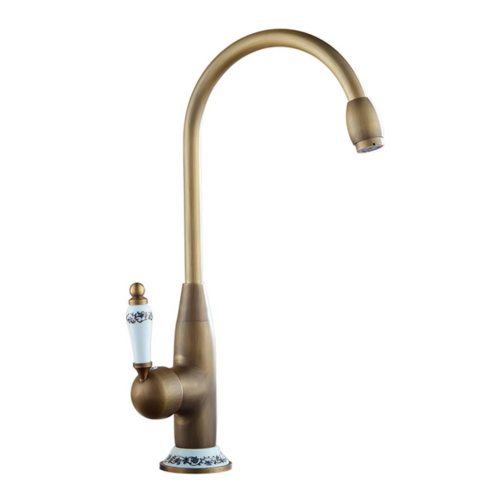 ASHENG Kitchen Sink Taps Water Filter Faucet Kitchen Bar Sink Lead-Free Brass Drinking Single Lever Sink Faucet Modern Bathroom gold