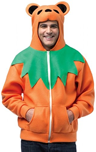 Grateful Dead Orange Bear Adult Costumes - Grateful Dead Dancing Bear Hoodie Color: Orange Size: Large