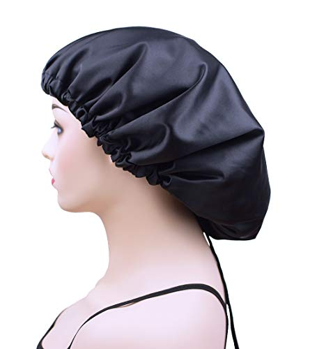 Satin Sleep Bonnet Cap for Women, Extra Large Silk Sleeping Cap, Black Double Layer Night Hat for Natural Curly Hair, Long Braids