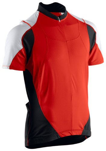 Astek Mens Red Black White Cycling Fitness Training Biking Jersey Top (Medium) (Spf Cycling Jersey)