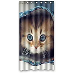 Funny Cat In The Blanket Waterproof Bathroom Fabric Shower CurtainBathroom Decor 36 X