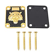 Mxfans Gold and Black Neck Plate Engraved Animal Head Pattern&Screws for Guitar